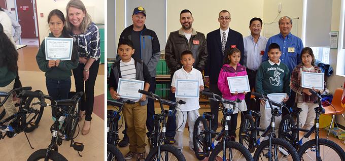 Bicycle Give-Away At Bahia Elementary School In San Rafael, CA