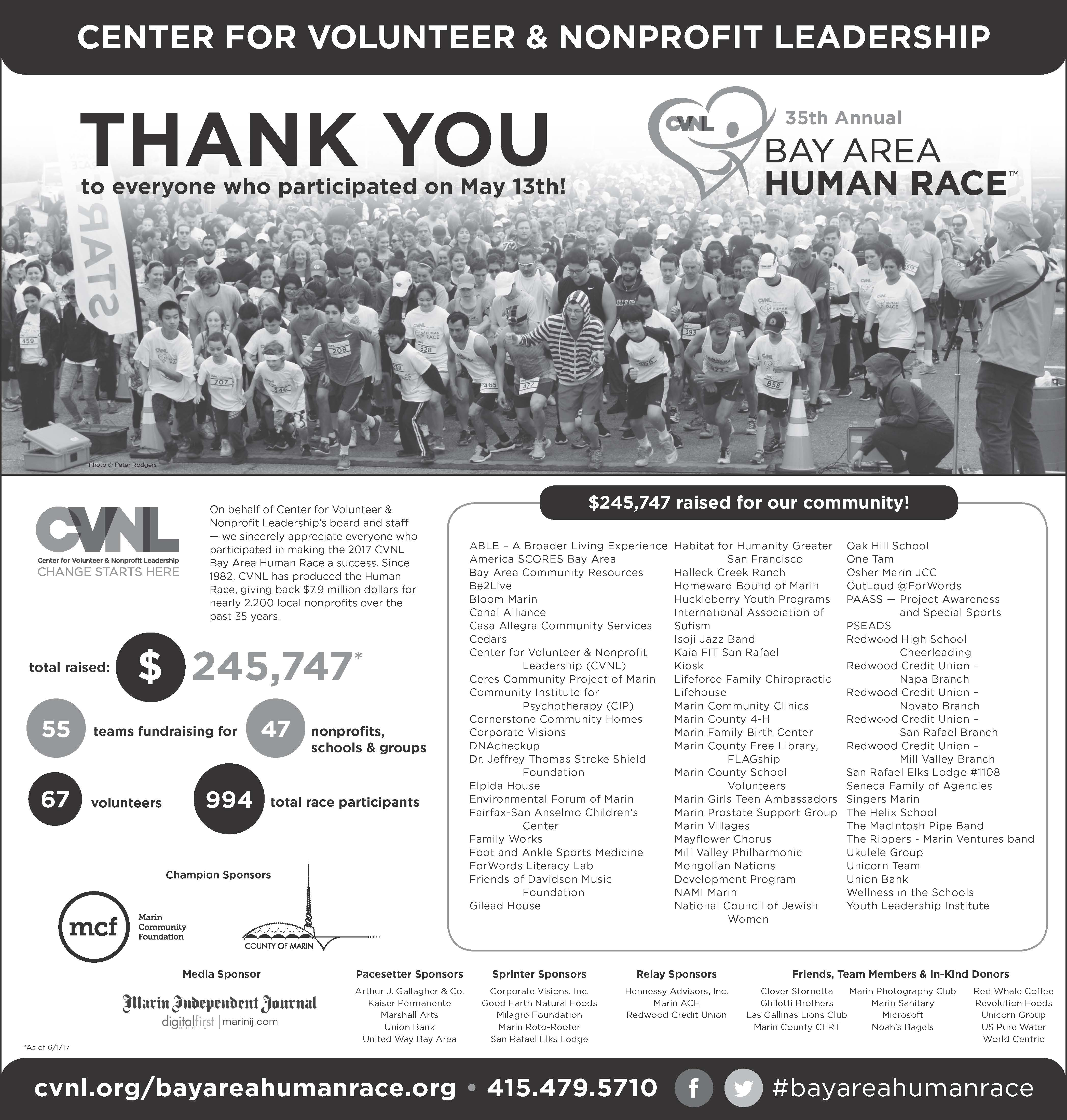 CVNL Bay Area Human Race, Final Results Are In, $245,747 Raised!