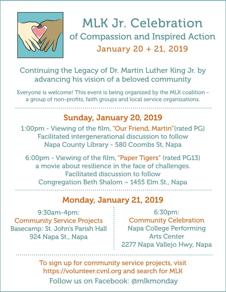 MLK Day of Service 2019 schedule english